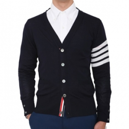 [Thom Browne]FourLine Armband Cardigan Navy